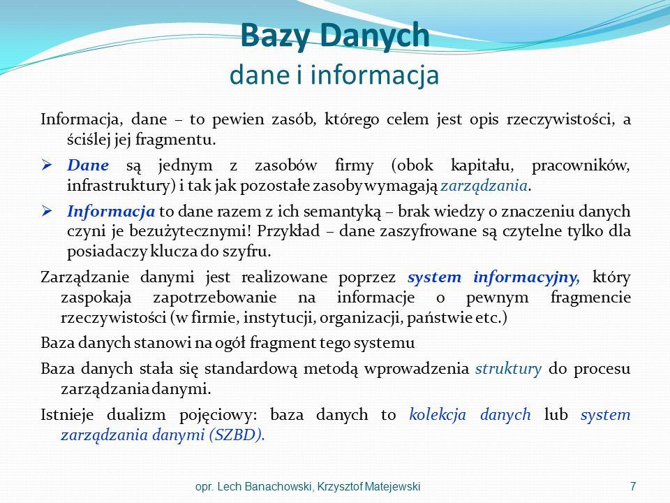 Bazy Danych dane i informacja