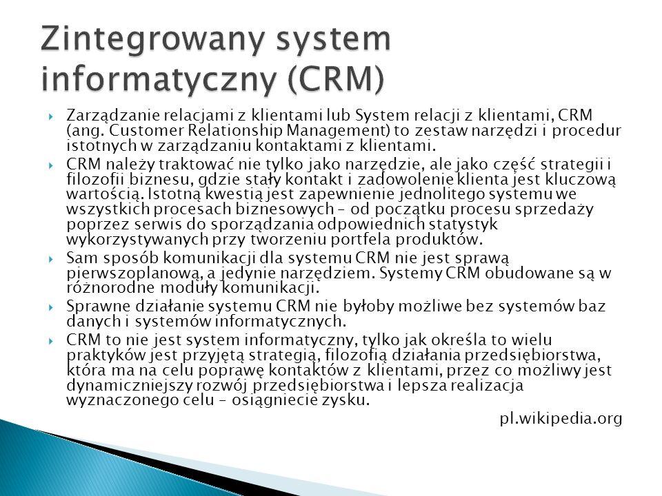 Zintegrowany system informatyczny (CRM)