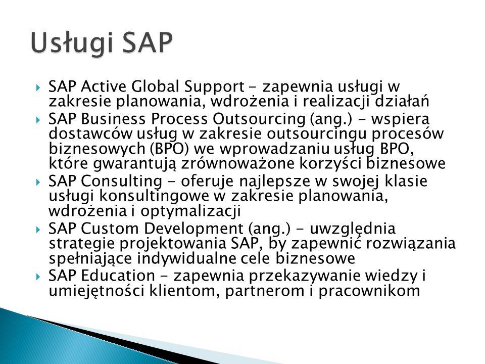 Usługi SAP SAP Active Global Support - zapewnia usługi w zakresie planowania, wdrożenia i realizacji działań.