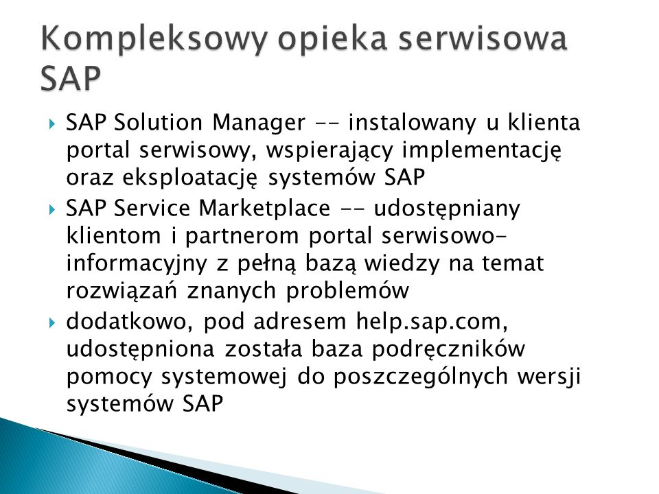 Kompleksowy opieka serwisowa SAP