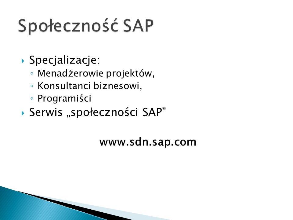 """Społeczność SAP Specjalizacje: Serwis """"społeczności SAP"""