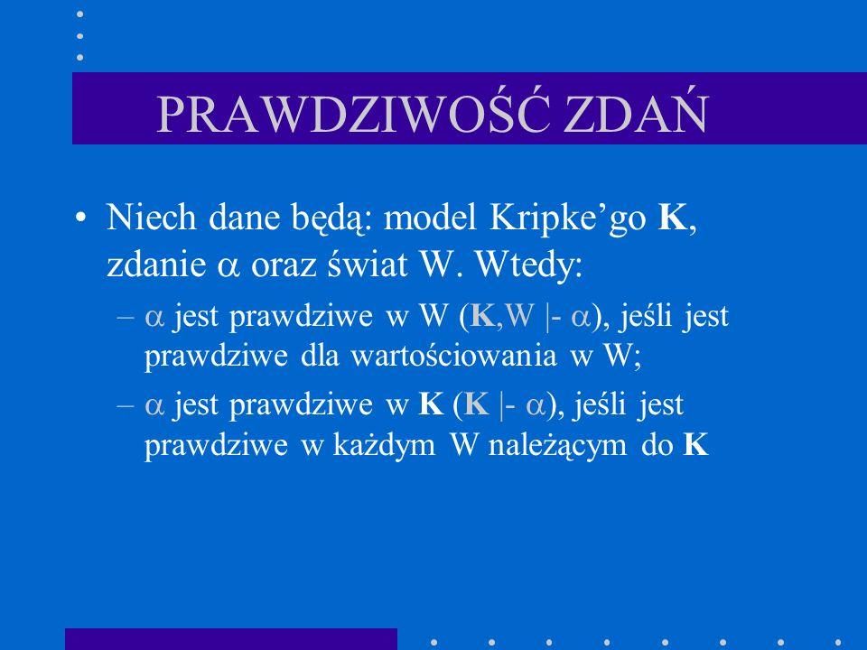 PRAWDZIWOŚĆ ZDAŃ Niech dane będą: model Kripke'go K, zdanie  oraz świat W. Wtedy: