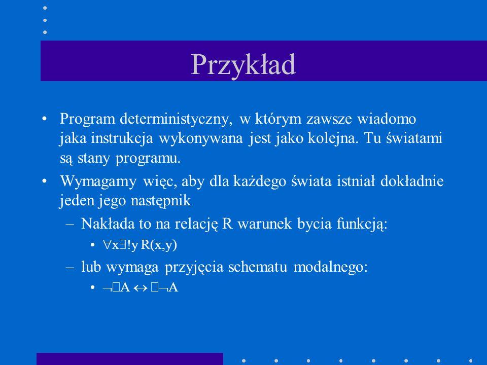 Przykład Program deterministyczny, w którym zawsze wiadomo jaka instrukcja wykonywana jest jako kolejna. Tu światami są stany programu.