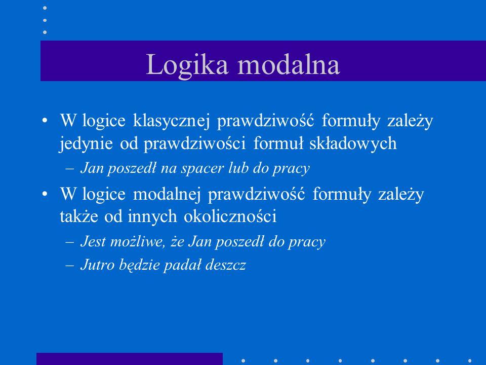 Logika modalna W logice klasycznej prawdziwość formuły zależy jedynie od prawdziwości formuł składowych.
