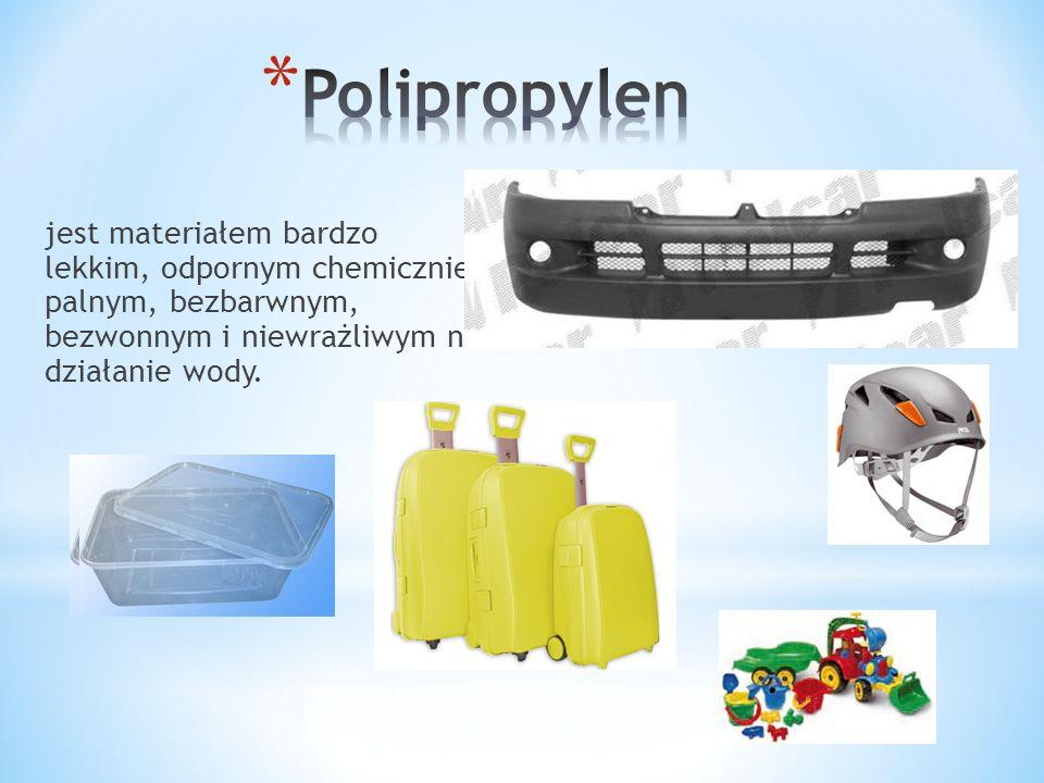 Polipropylen jest materiałem bardzo lekkim, odpornym chemicznie, palnym, bezbarwnym, bezwonnym i niewrażliwym na działanie wody.