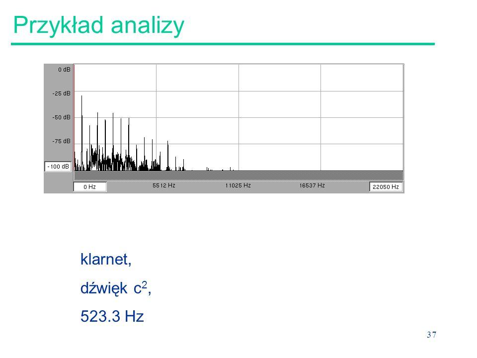 Przykład analizy klarnet, dźwięk c2, 523.3 Hz