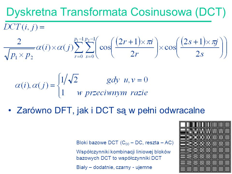 Dyskretna Transformata Cosinusowa (DCT)