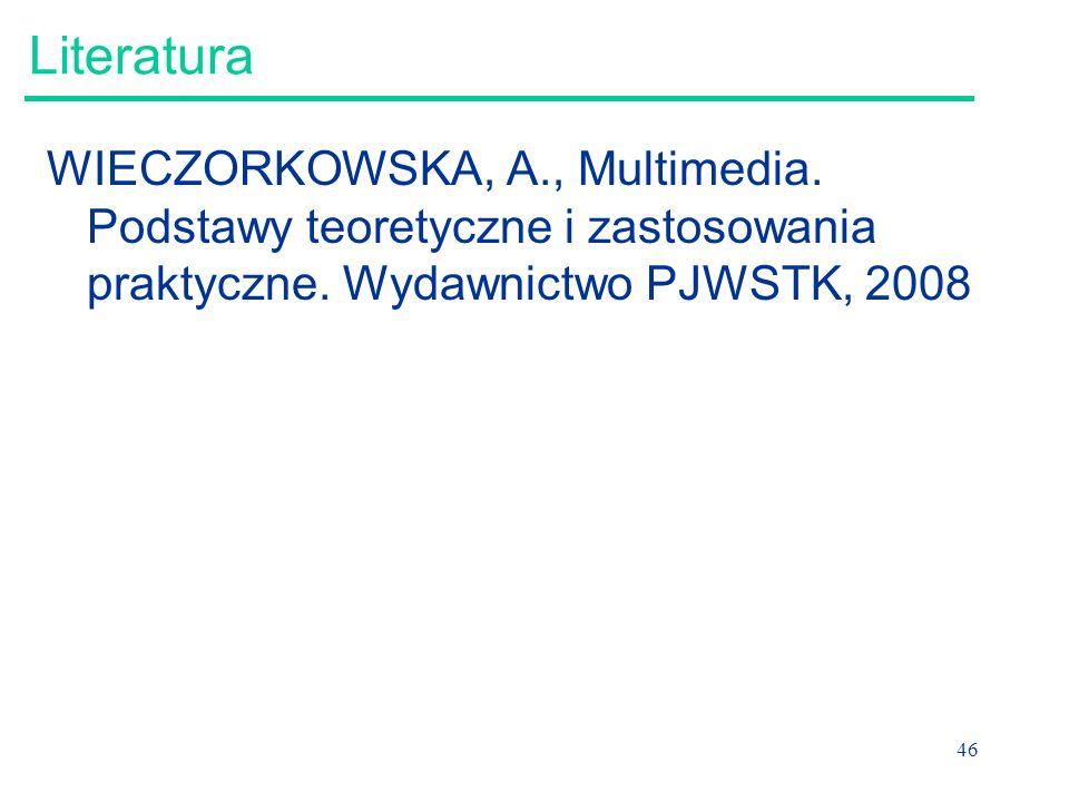 Literatura WIECZORKOWSKA, A., Multimedia. Podstawy teoretyczne i zastosowania praktyczne.