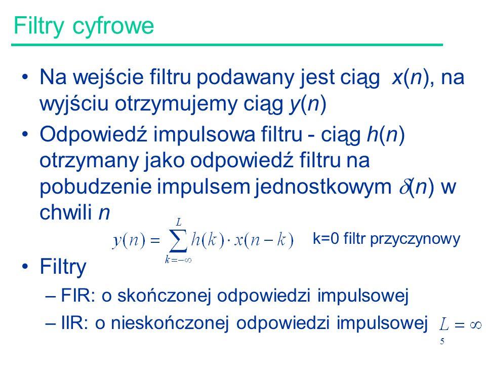 Filtry cyfrowe Na wejście filtru podawany jest ciąg x(n), na wyjściu otrzymujemy ciąg y(n)