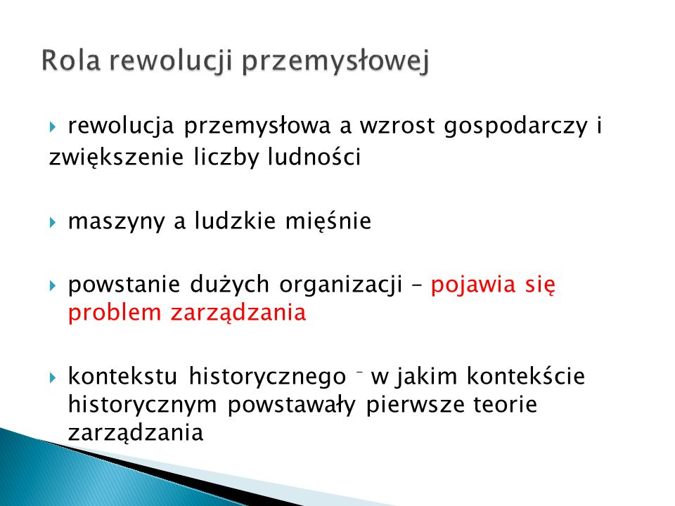 Rola rewolucji przemysłowej