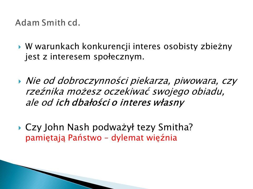 Adam Smith cd. W warunkach konkurencji interes osobisty zbieżny jest z interesem społecznym.
