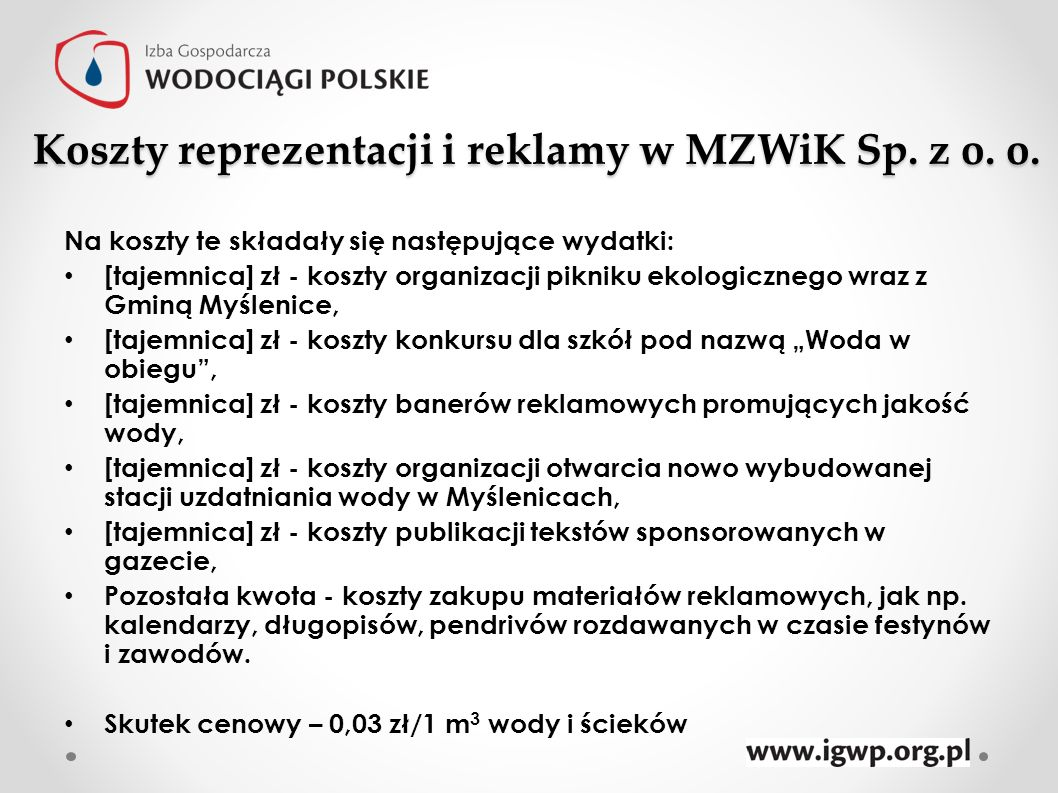 Koszty reprezentacji i reklamy w MZWiK Sp. z o. o.