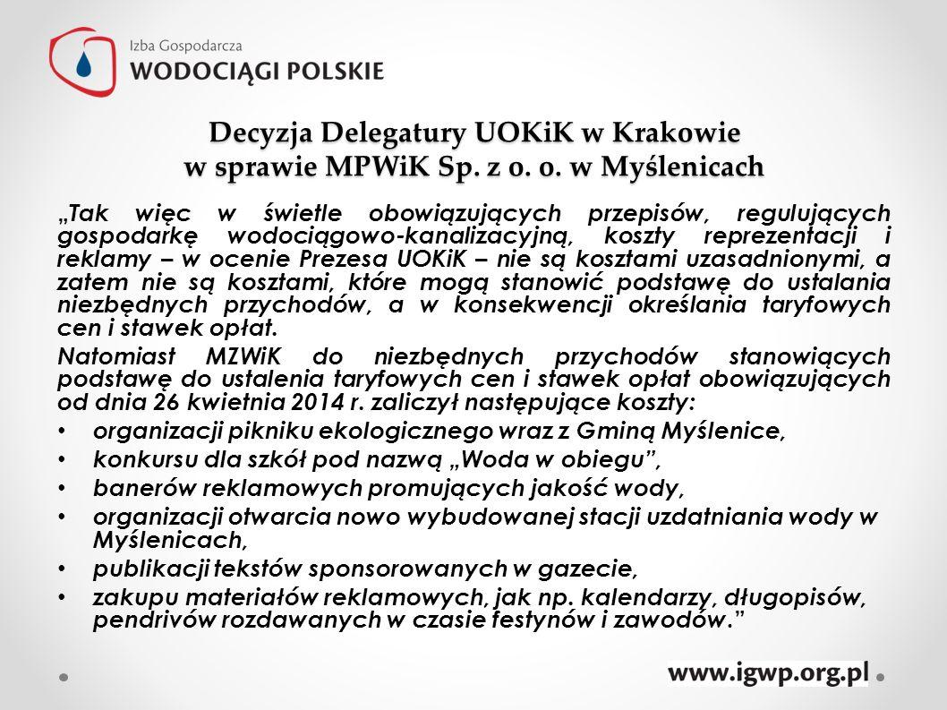 Decyzja Delegatury UOKiK w Krakowie w sprawie MPWiK Sp. z o. o