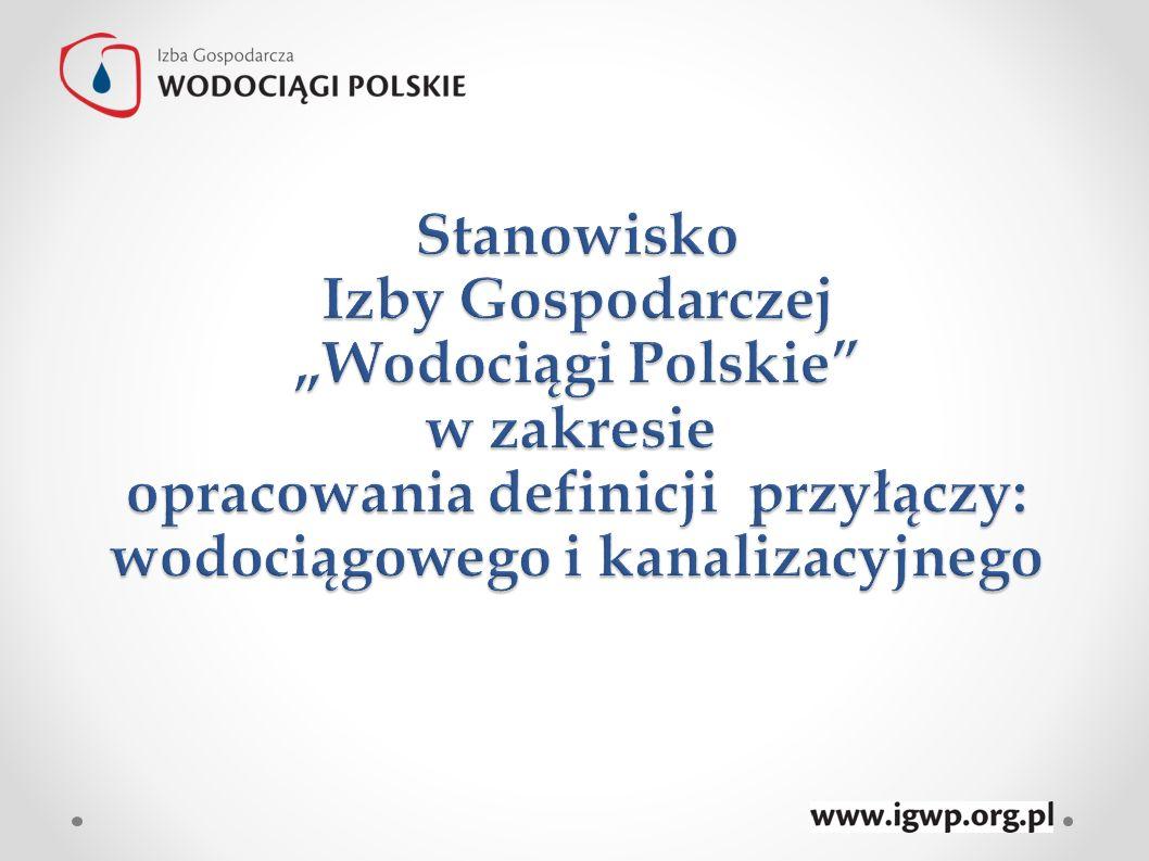 """Stanowisko Izby Gospodarczej """"Wodociągi Polskie w zakresie opracowania definicji przyłączy: wodociągowego i kanalizacyjnego"""