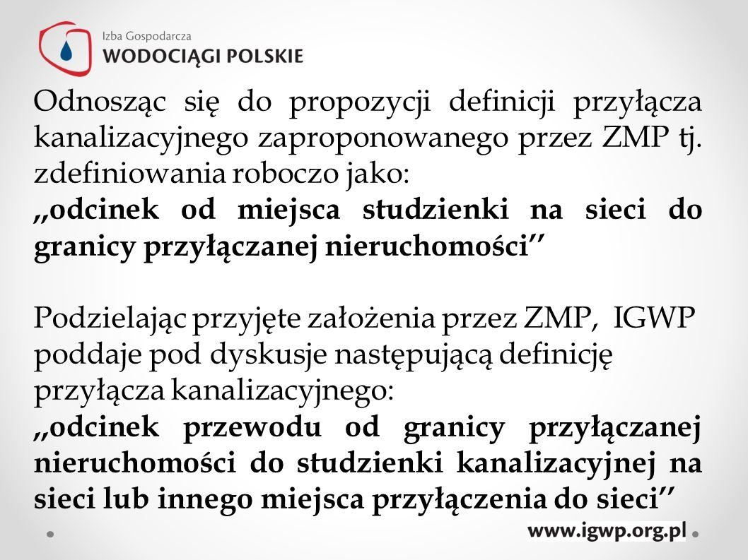 Odnosząc się do propozycji definicji przyłącza kanalizacyjnego zaproponowanego przez ZMP tj. zdefiniowania roboczo jako: