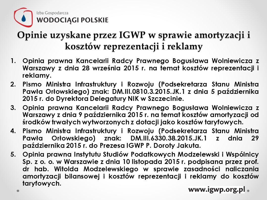 Opinie uzyskane przez IGWP w sprawie amortyzacji i kosztów reprezentacji i reklamy