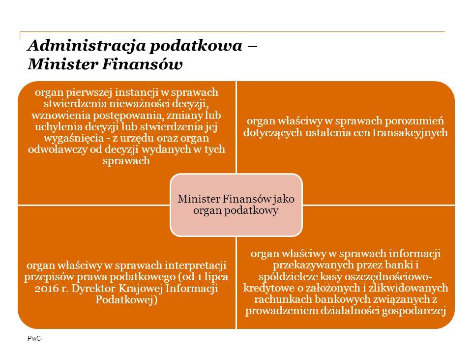 Administracja podatkowa – Minister Finansów