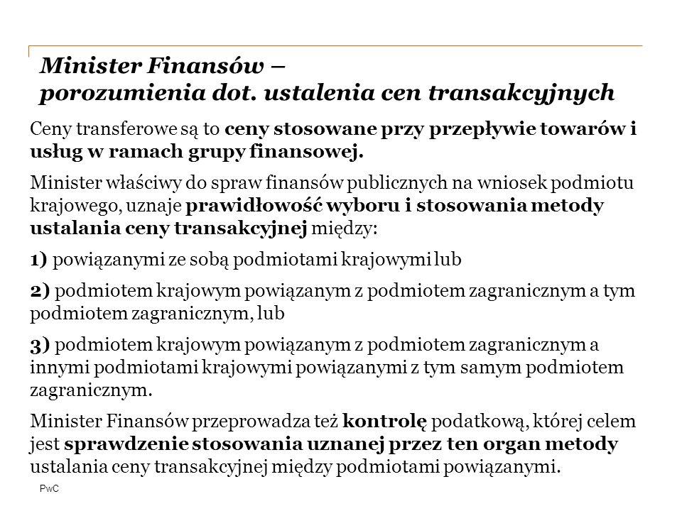 Minister Finansów – porozumienia dot. ustalenia cen transakcyjnych