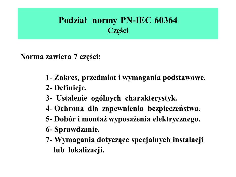 Podział normy PN-IEC 60364 Części