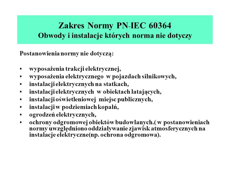 Zakres Normy PN-IEC 60364 Obwody i instalacje których norma nie dotyczy