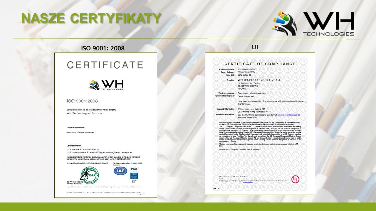 NASZE CERTYFIKATY ISO 9001: 2008 UL
