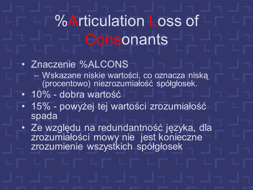 %Articulation Loss of Consonants