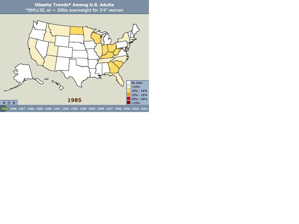 Epidemia cukrzycy powiązana z epidemią otyłości, jak widać na danych dotyczących USA. Na kolejnych slajdach zobaczymy jak wzrasta liczba osób otyłych i chorujących na cukrzycę w kolejnych latach w poszczególnych stanach.