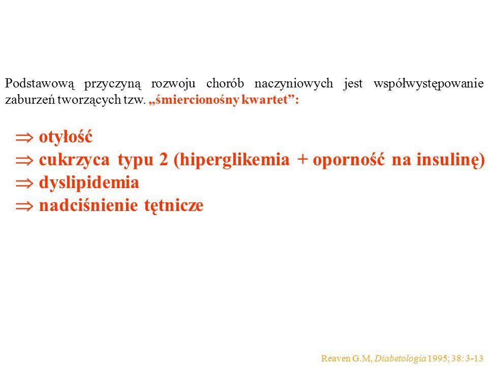  cukrzyca typu 2 (hiperglikemia + oporność na insulinę)