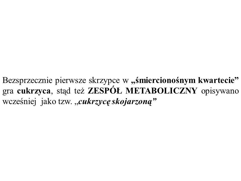 """Bezsprzecznie pierwsze skrzypce w """"śmiercionośnym kwartecie gra cukrzyca, stąd też ZESPÓŁ METABOLICZNY opisywano wcześniej jako tzw. """"cukrzycę skojarzoną"""