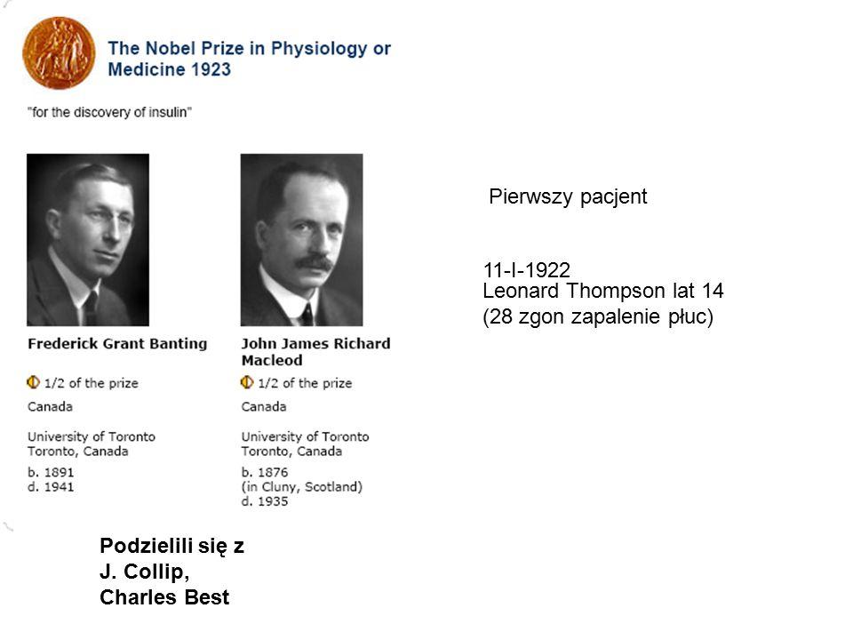 Pierwszy pacjent 11-I-1922 Leonard Thompson lat 14