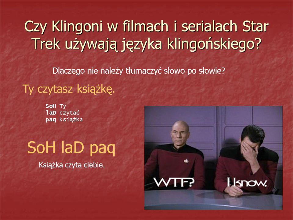 Czy Klingoni w filmach i serialach Star Trek używają języka klingońskiego