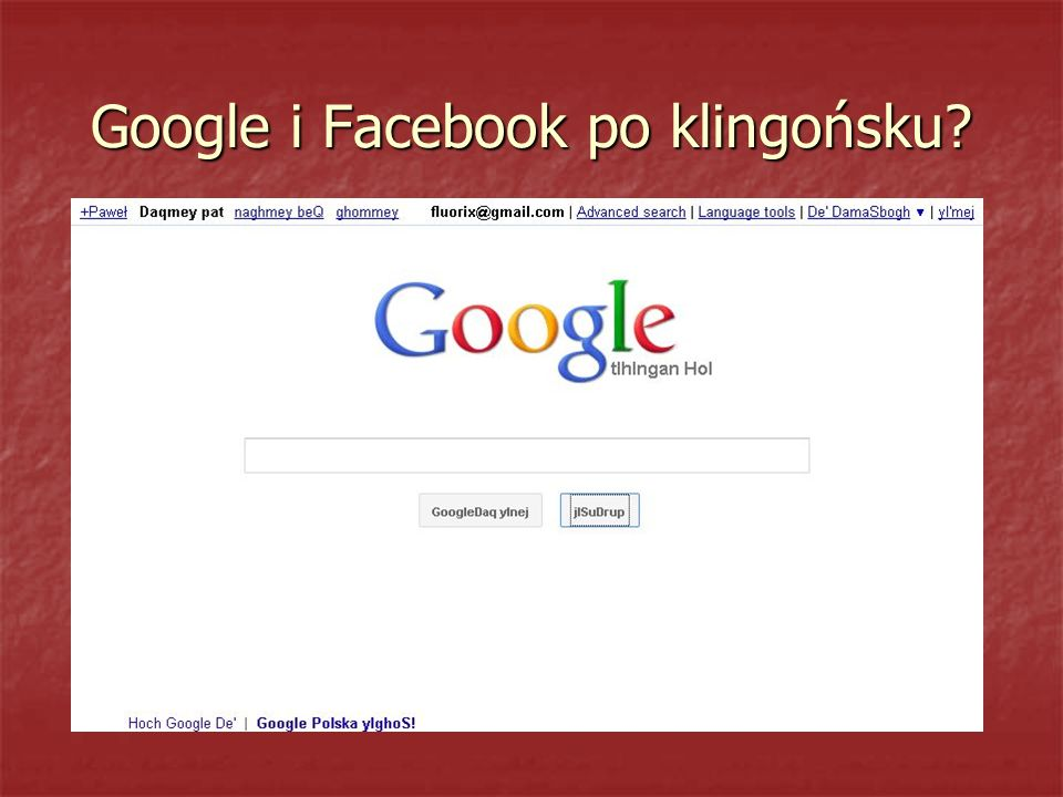 Google i Facebook po klingońsku