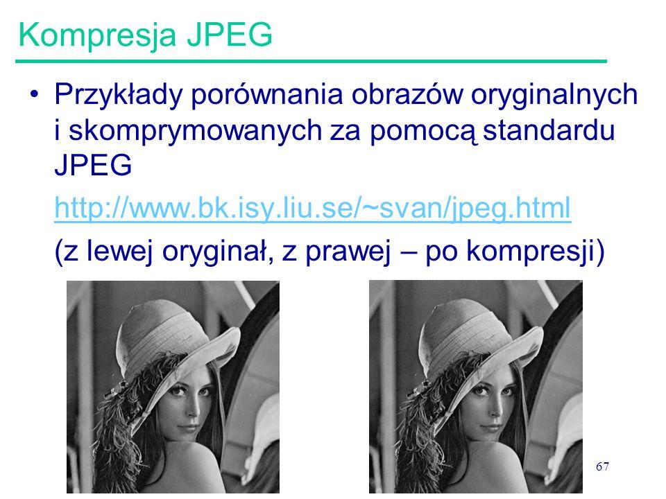 Kompresja JPEG Przykłady porównania obrazów oryginalnych i skomprymowanych za pomocą standardu JPEG.