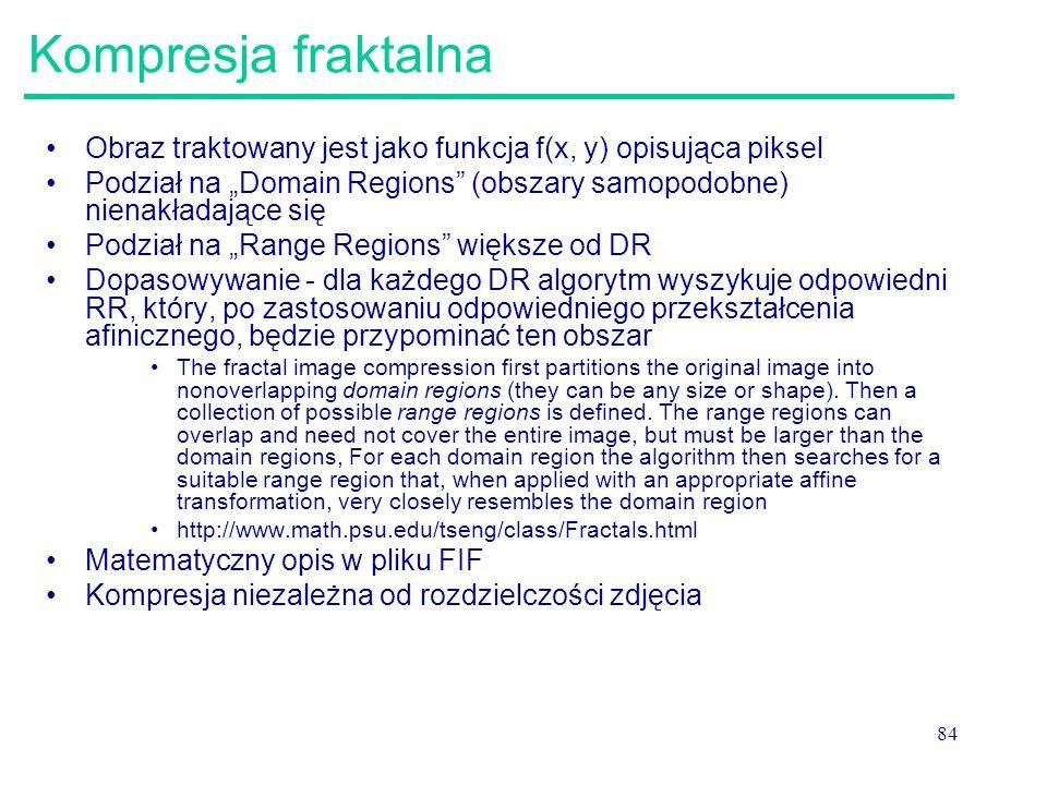 Kompresja fraktalna Obraz traktowany jest jako funkcja f(x, y) opisująca piksel.