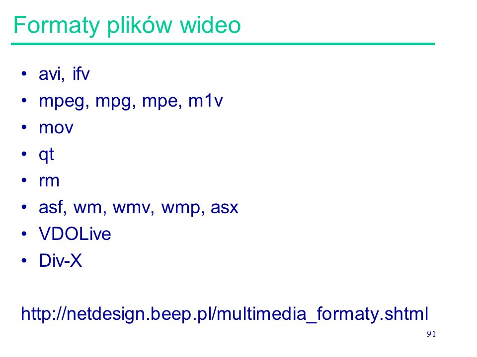 Formaty plików wideo avi, ifv mpeg, mpg, mpe, m1v mov qt rm