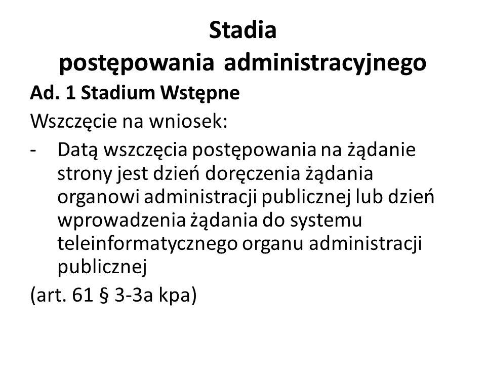 Stadia postępowania administracyjnego