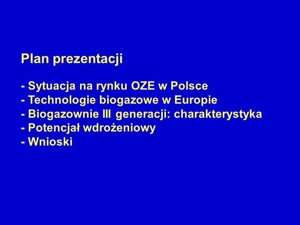 Plan prezentacji - Sytuacja na rynku OZE w Polsce