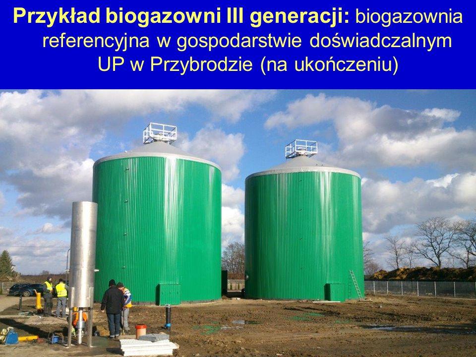 Przykład biogazowni III generacji: biogazownia referencyjna w gospodarstwie doświadczalnym UP w Przybrodzie (na ukończeniu)