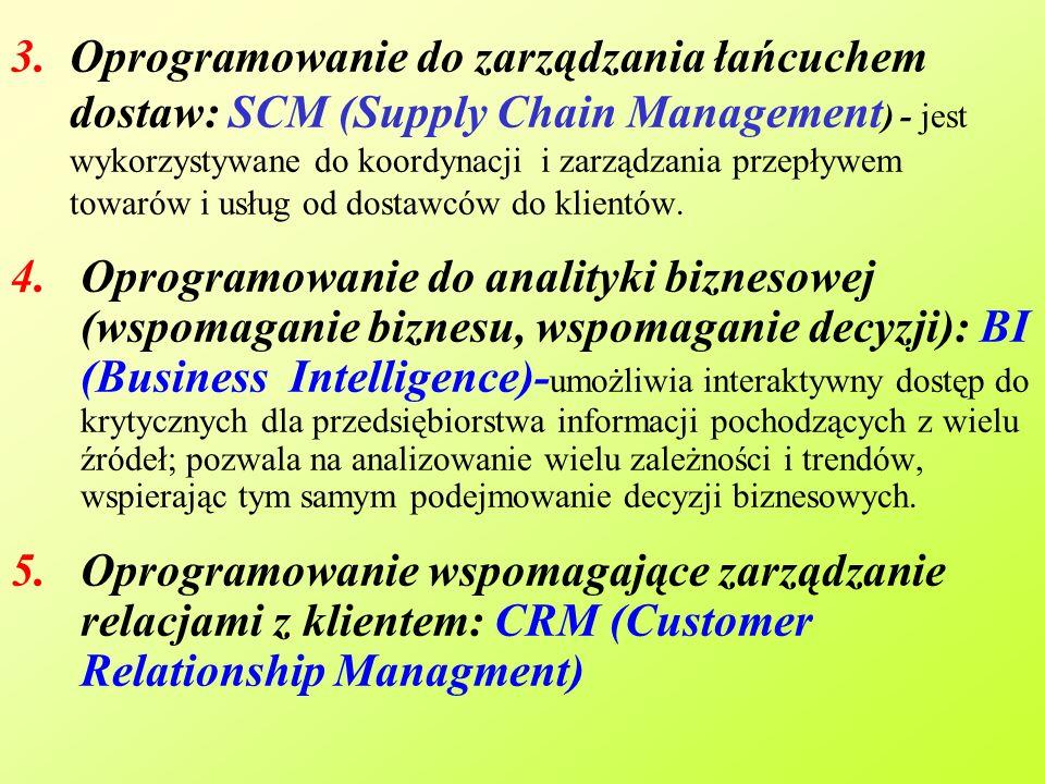 Oprogramowanie do zarządzania łańcuchem dostaw: SCM (Supply Chain Management) - jest wykorzystywane do koordynacji i zarządzania przepływem towarów i usług od dostawców do klientów.