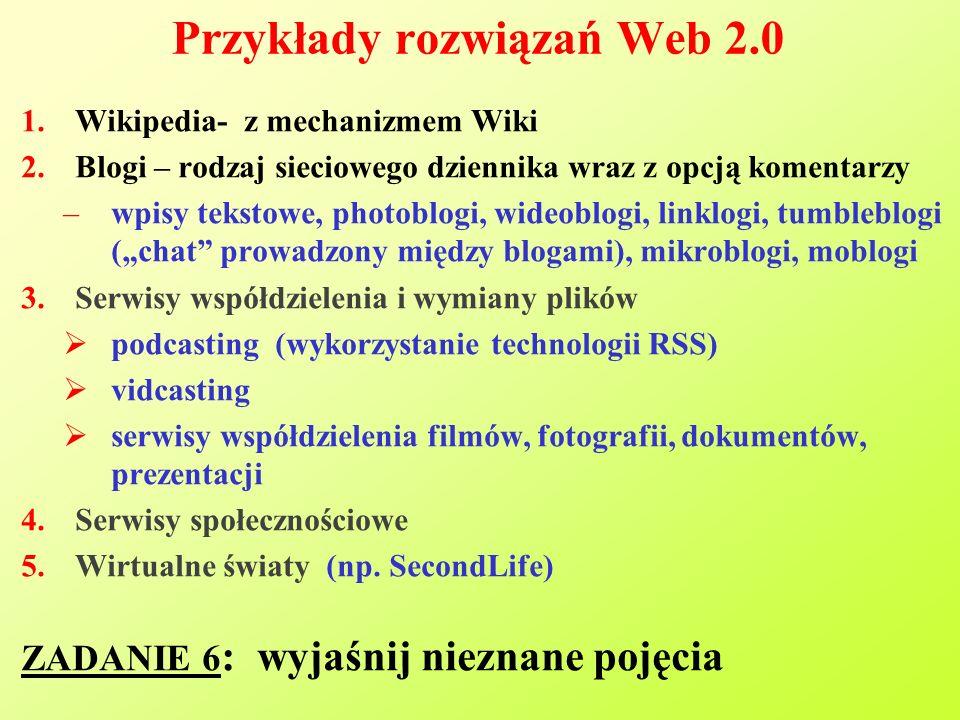 Przykłady rozwiązań Web 2.0