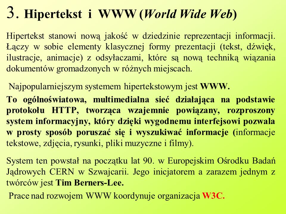 3. Hipertekst i WWW (World Wide Web)