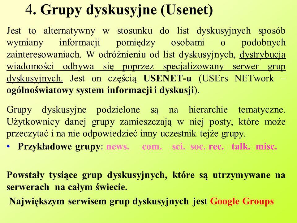4. Grupy dyskusyjne (Usenet)