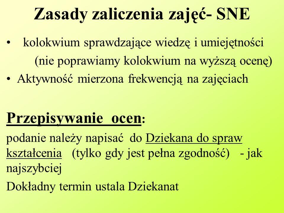 Zasady zaliczenia zajęć- SNE