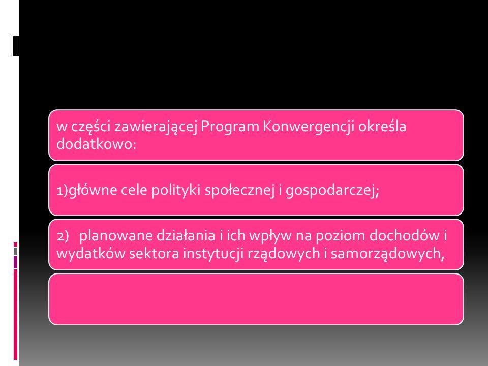 w części zawierającej Program Konwergencji określa dodatkowo: