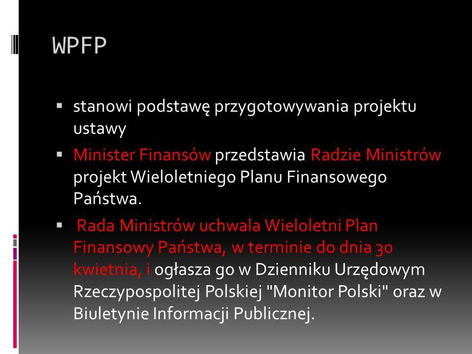WPFP stanowi podstawę przygotowywania projektu ustawy