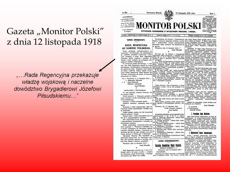 """Gazeta """"Monitor Polski z dnia 12 listopada 1918"""