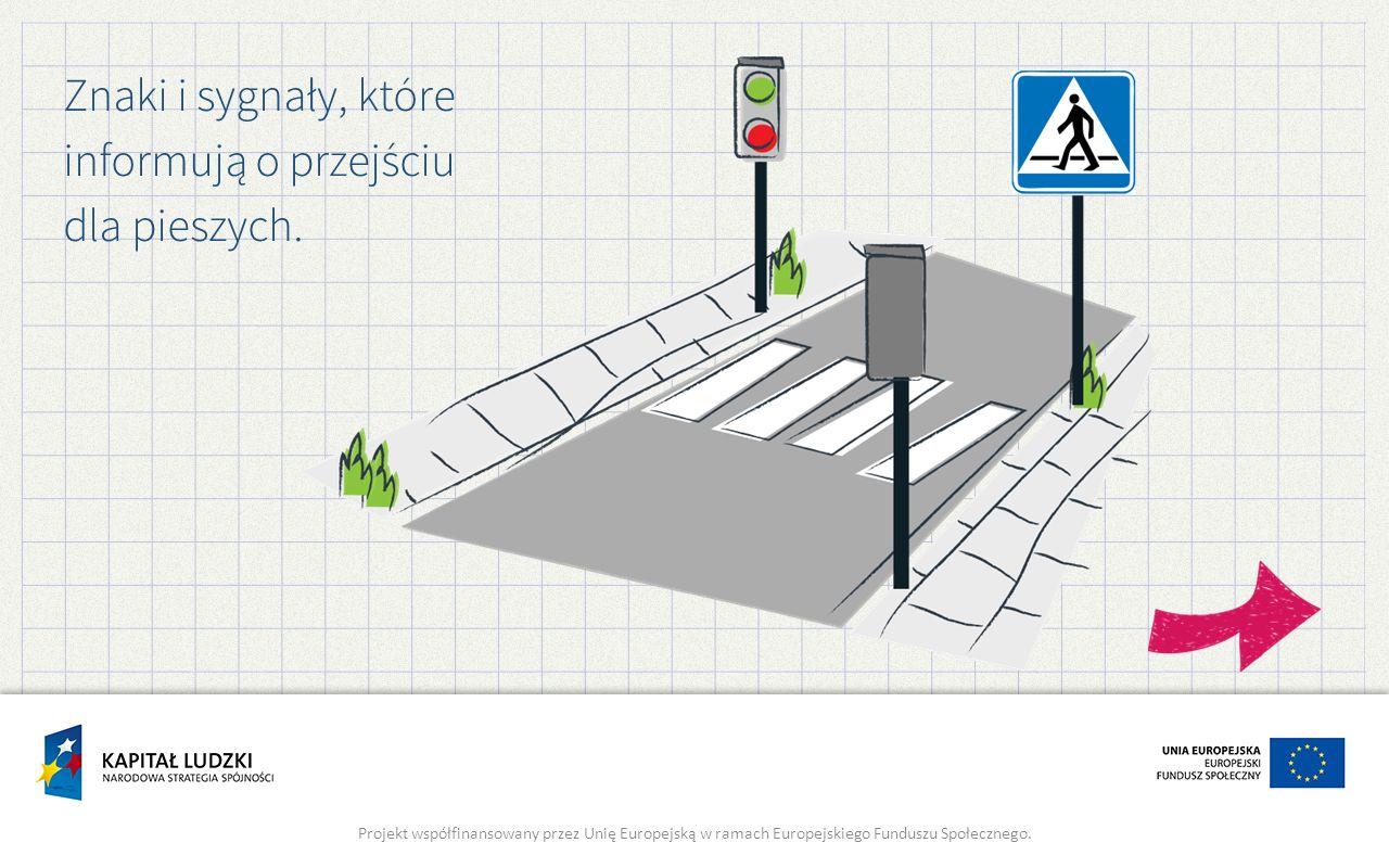 Znaki i sygnały, które informują o przejściu dla pieszych.