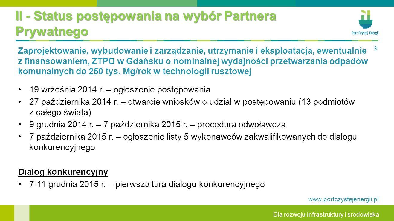 II - Status postępowania na wybór Partnera Prywatnego