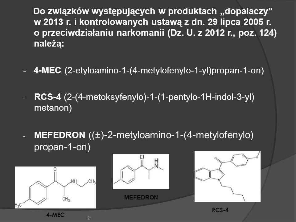 """Do związków występujących w produktach """"dopalaczy w 2013 r"""