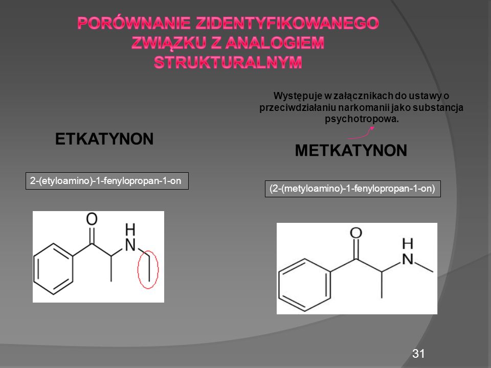 Występuje w załącznikach do ustawy o przeciwdziałaniu narkomanii jako substancja psychotropowa.